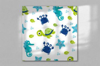 Cute sea vector animals underwater. Cartoon seamless pattern on a color background. It can be used for backgrounds, surface textures, wallpapers, pattern fills
