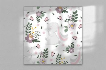seamless pattern with easter bunny and flowers on a white background - vector illustration, eps