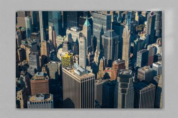 Aerial view to New York City Skyline from helicopter.