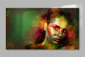 Creative Makeup. Fashion Model Girl Portrait With Colorful Powder Make Up. Close-up Lady Face, Abstract Colourful Make-up, Art Design. Copy space. Green background.