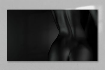 Perfect naked body, black buttocks and back of a sexy woman on a dark background. Art Nude. 3D rendering.