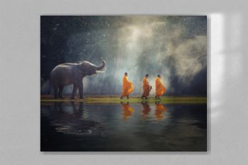 Thailand Buddhist monks walk collecting alms with elephant is traditional of religion Buddhism on faith Thai people