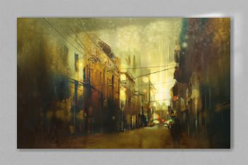 city street,illustration painting with vintage style