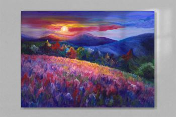 Mountain landscape oil artwork, cozy, cheerful, hand painted