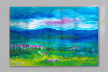 Oil landscape painting. Blue mountains, green fields, pink flowers, sunset sky.