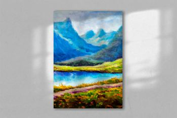 Mountain landscape Original modern oil painting - Beautiful lake in mountains - contemporary fine art illustration
