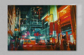 city street at night with colorful lights,digital painting