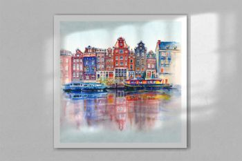 Watercolor sketch of Amsterdam typical houses with their reflections in canal, Holland, Netherlands