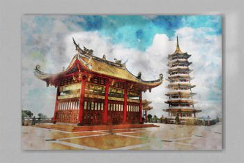 Watercolor of a red chinese pagoda or temple at high mountain hill under a cloudy sky, Cameron Highland, Malaysia