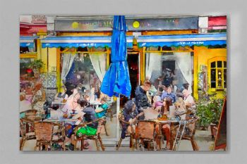 people on street cafe, watercolor style