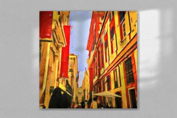 Beautiful view of Italian city street. Big size oil painting pictorial art. Modern impressionism drawing artwork. Creative artistic print for canvas or textile. Wallpaper, poster or postcard design.