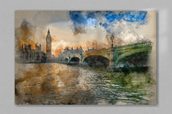 Watercolor painting of Big Ben and Westminster Bridge during Winter sunset.