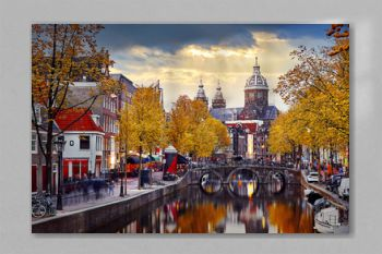 Amsterdam, Netherlands. Autumn sunset in Red-light district.