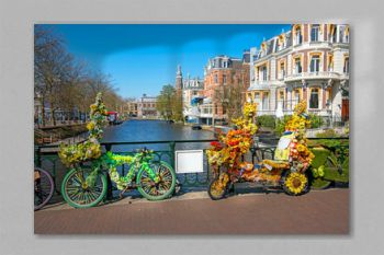 Bikes decorated with flowers in Amsterdam the Netherlands