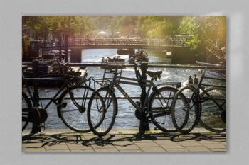 parked bicycles in the beautiful city of Amsterdam, Holland