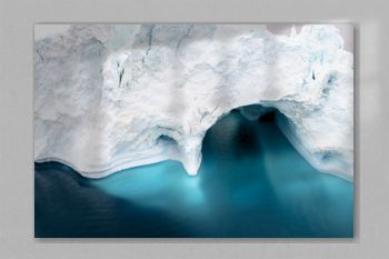 Icebergs are melting on arctic ocean in Greenland