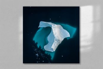 Iceberg in Greenland. Top view. Shape undrwater.