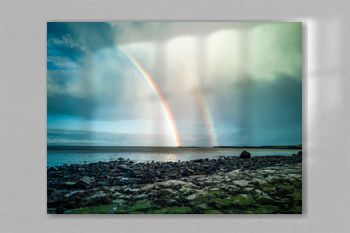 Rainbow above the famous Dinosaur bay at Staffin on the isle of Skye