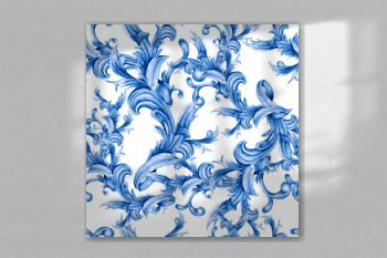 Watercolor blue baroque floral seamless pattern with curl, rococo ornament. Hand drawn gold scroll, leaves isolated on white background