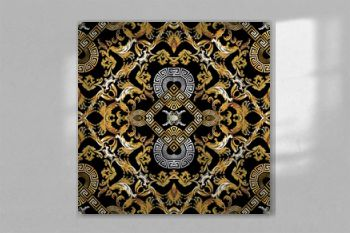Baroque seamless pattern. Black vector damask background wallpaper with vintage gold silver flowers, scroll leaves, rhombus, meander, greek key ornament. Ornate beautiful texture. Luxury floral design