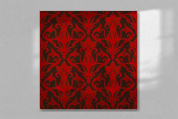 Damask seamless wallpaper, tiles. Ornament red on a brown background Renaissance. Vector pattern