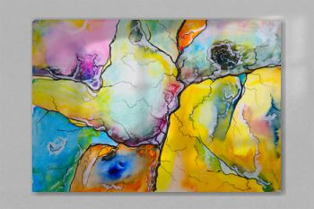 An abstract watercolour painting, suggestive of a map.