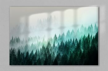 Trees in morning fog. Digital painting..