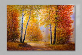 Pheasants in the autumn forest.Oil painting landscape.