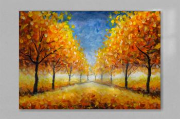 Autumn Impressionism oil painting landscape paint art. Gold orange autumn tree park alley forest wood with blue sky