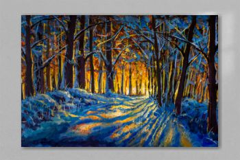 Oil painting with acrylic watercolor. Winter forest. Sunny winter forest wood landscape illustration artwork nature.