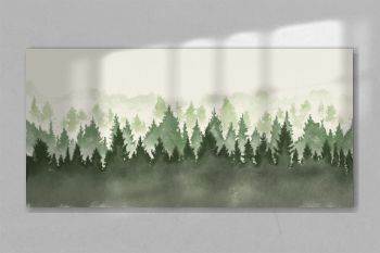 Hand drawn watercolor painting of christmas tree forest landscape. Wide copy space background