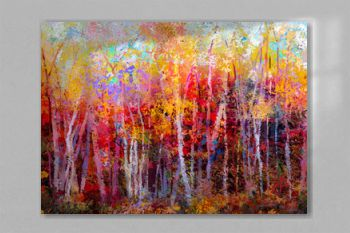 Oil painting landscape, colorful autumn trees. Semi abstract paintings image of forest, aspen tree with yellow, red leaf. Fall season nature background. Hand Painted Impressionist, outdoor landscape