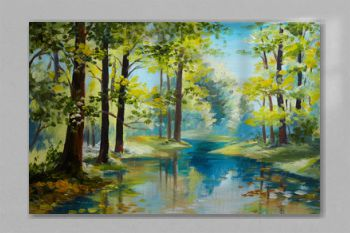 Oil painting landscape - river in the forest, summer day