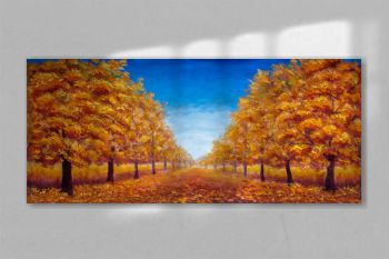 Autumn Oil painting landscape - colorful autumn forest alley park