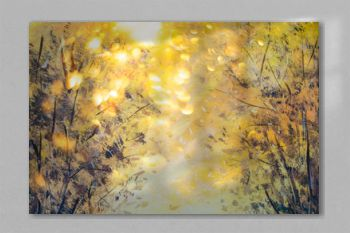 Beautiful yellow orange abstract background of nature, forest and trees - oil painting on canvas. Evening in the park.