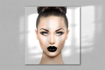 High fashion beauty model girl with black make up and long lushes