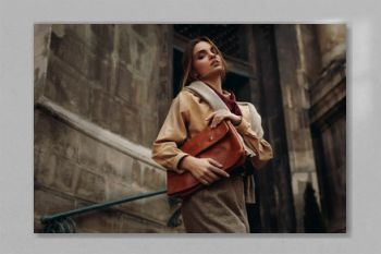 High Fashion Clothing. Woman In Fashionable Clothes In Street