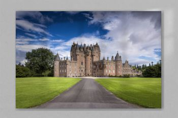 View of Glamis Castle in Scotland, United Kingdom. Glamis Castle is situated beside the village of Glamis in Angus. It is the home of the Countess of Strathmore and Kinghorne, and is open to public.