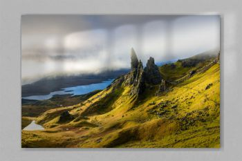 Sunrise at The Old Man of Storr - beautiful panorama of an amazing scenery with vivid colors - symbolic tourist attraction - mystery around the landmark