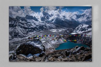 Landscape view of Gokyo village and Dudh Pokhari lake. View from Gokyo Ri. Sagarmatha (Everest) National Park, Nepal.