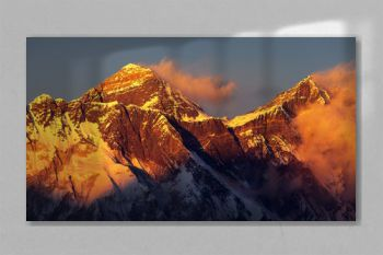 Evening sunset red colored view of Everest and Lhotse