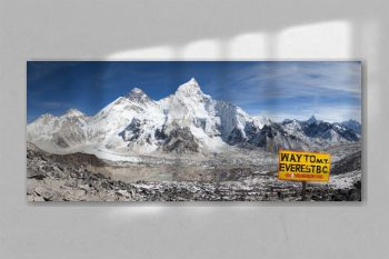Mount Everest with signpost