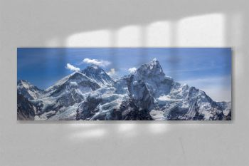 Mt Everest and Nuptse. Blue sky. Panoramic view. Himalayan mountains, Nepal.