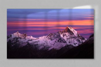Mount Machapuchare (Fishtail) at sunset, view from Annapurna Base Camp, Nepal, Himalayas