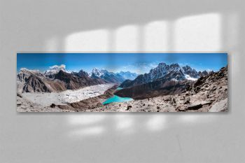 Panoramic view of Himalayan Mountains from Gokyo Ri (5,360m) with Gokyo Lake, Everest, Nuptse, Lhotse, Phari Lapcha and More, Gokyo, Sagarmatha national park, Everest Base Camp 3 Passes Trek, Nepal