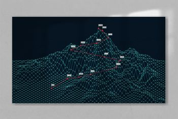 Cyberspace grid 3d technology wireframe landscape, Climbing route to the top mountain, Business is the way to success