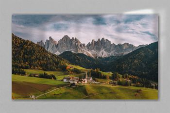 Santa Maddalena (St Magdalena) village with magical Dolomites mountains in background, Val di Funes valley, Trentino Alto Adige region, Italy, Europe