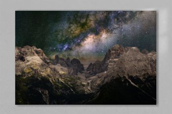 Milky Way over the mountains. The Dolomites in Modonna di Campiglio, Italy.