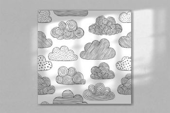 Beautiful black and white seamless pattern of doodle clouds. design background greeting cards and invitations to the wedding, birthday, mother s day and other seasonal autumn holidays.