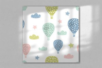 Childish seamless pattern with cute hot air balloon. Creative texture for fabric